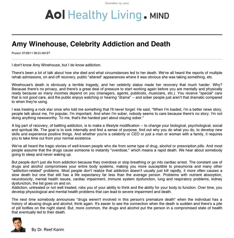 Aol - Amy Winehouse, Celebrity Addiction and Death